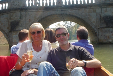 Punting on the Cam with champers - of course.