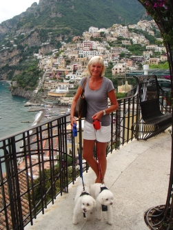 Jean and the girls at Positano - July 2011