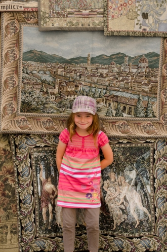 Jordan in front of Florentine tapestries