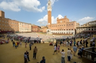 The Palio track running around the Campo.