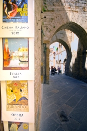 Postcards in a sidestreet in San Gimignano