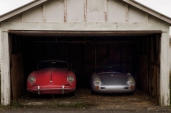 The Porsche 356 coupe and replica 550 Spyder