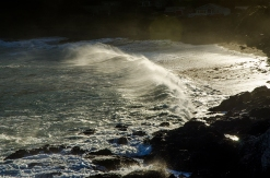 Waves pummel Owhiro Bay