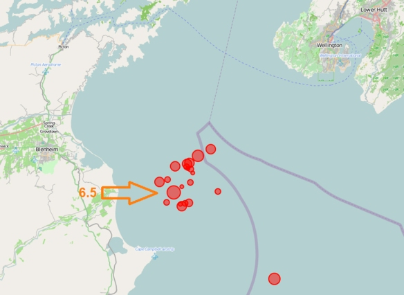 Quakes recorded on Sunday 21 July including the 6.5 tremor we felt