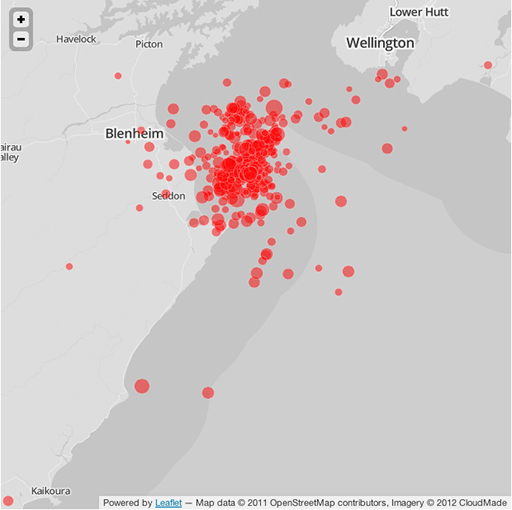 Quakes recorded over the last few days