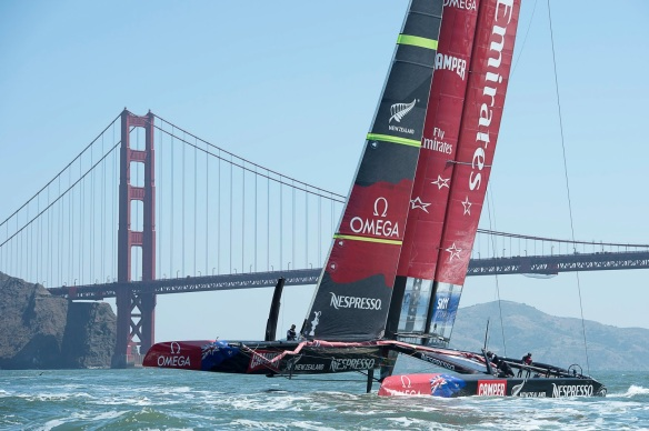 Aotearoa on the water - photo courtesy of Chris Cameron/Emirates Team New Zealand