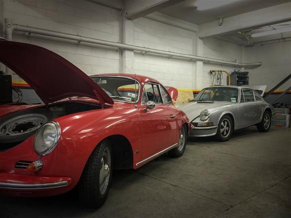 Porsche in a row
